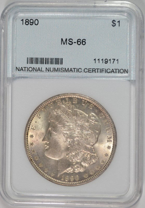 1890 MORGAN SILVER DOLLAR NNC GRADED SUPERB BU+  VERY RARE