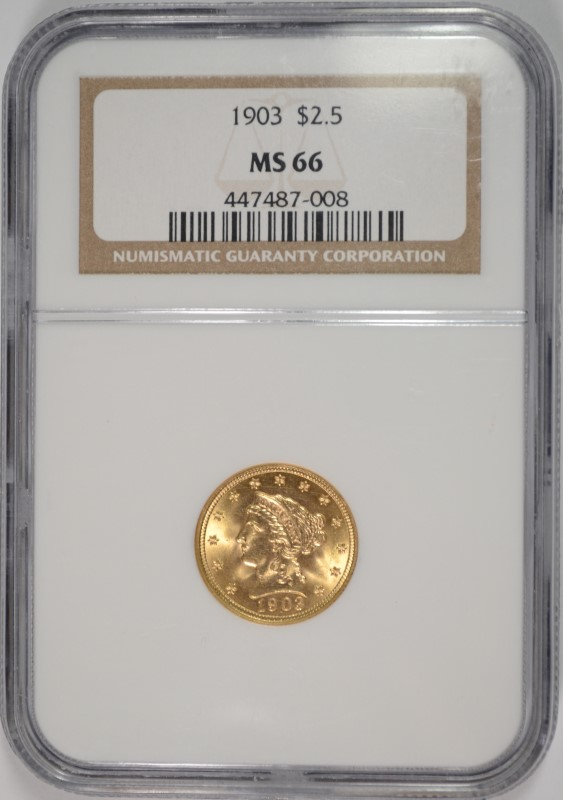 1903 $2.5 LIBERTY GOLD NGC MS 66 SUPERB, AMAZING COIN!