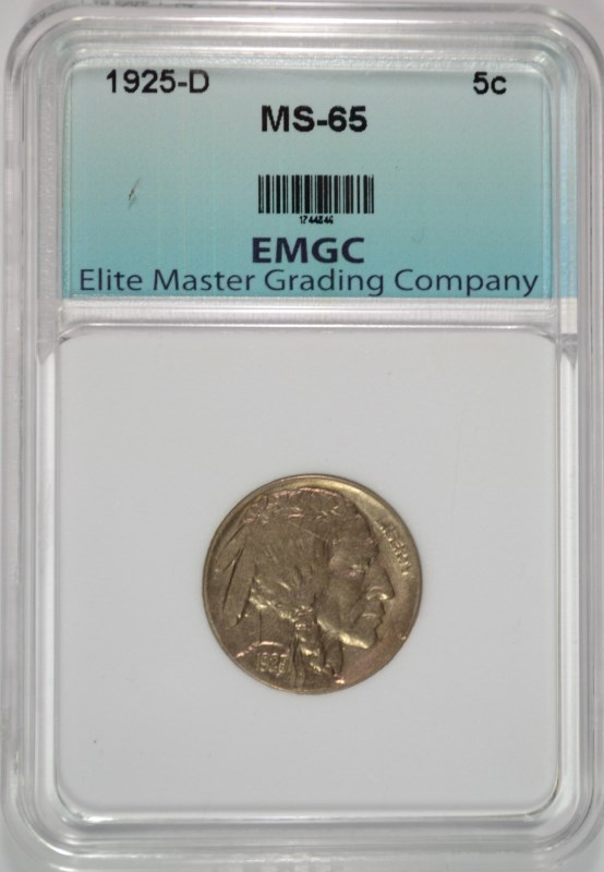1925-D BUFFALO NICKEL GRADED EMGC  GEM UNC