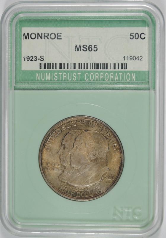 1923-S MONROE COMMEMORATIVE HALF DOLLAR, NTC GEM UNC RARE!