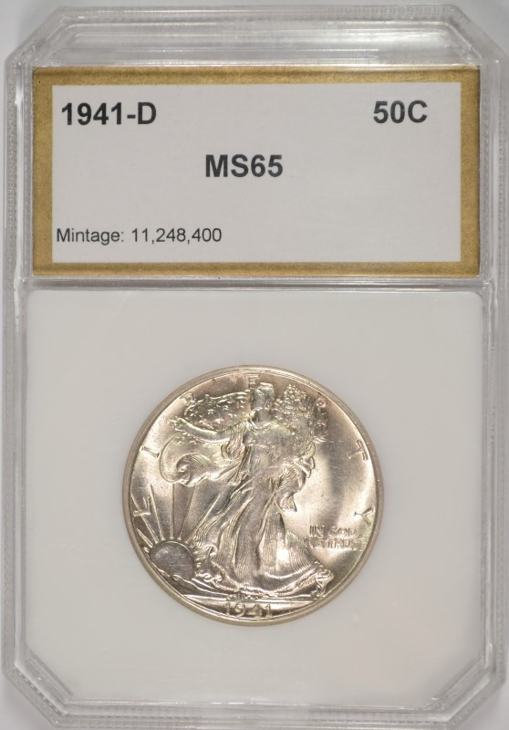 1941-D WALKING LIBERTY HALF DOLLAR PCI GRADED GEM BU+