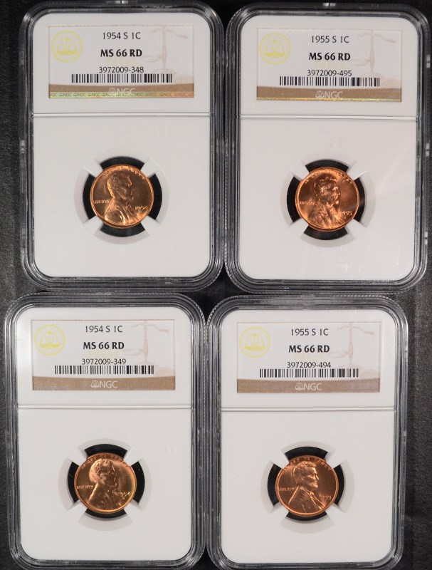 2 1954-S & 2 55-S LINCOLN CENTS NGC MS 66 RD