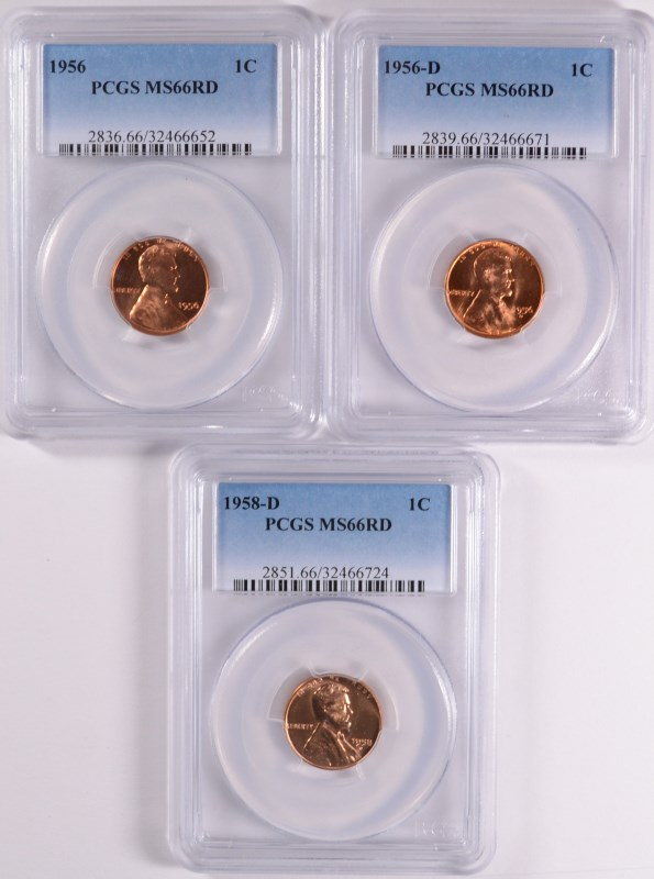 ( 3 ) PCGS GRADED MS-66 RED LINCOLN CENTS: 1956, 1956-D & 1958-D