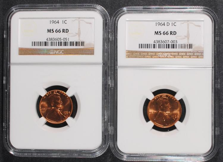 1964 & 1964-D LINCOLN CENTS, NGC MS-66 RED