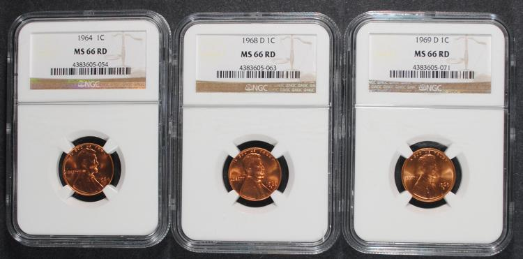 1964, 1968-D & 1969-D LINCOLN CENTS, NGC MS-66 RED