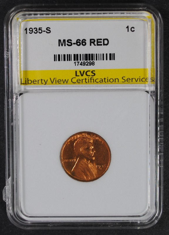 1935-S LINCOLN WHEAT CENT LVCS SUPERB GEM RED