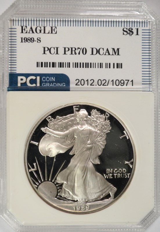 1989-S AMERICAN SILVER EAGLE PCI GRADED PERFECT PROOF DCAM