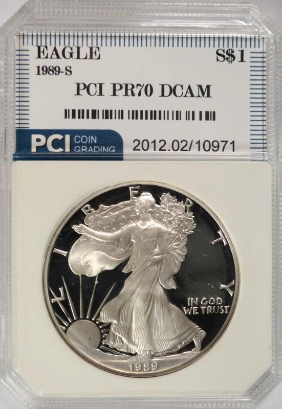 1989-S AMERICAN SILVER EAGLE PCI GRADED PERFECT PROOF DCAM