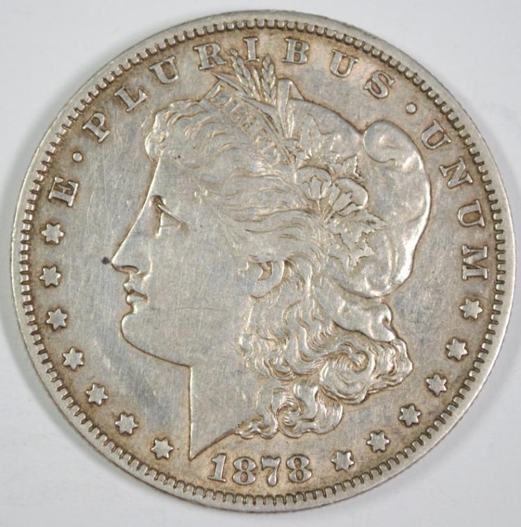 1878 7TF MORGAN SILVER DOLLAR, XF/AU