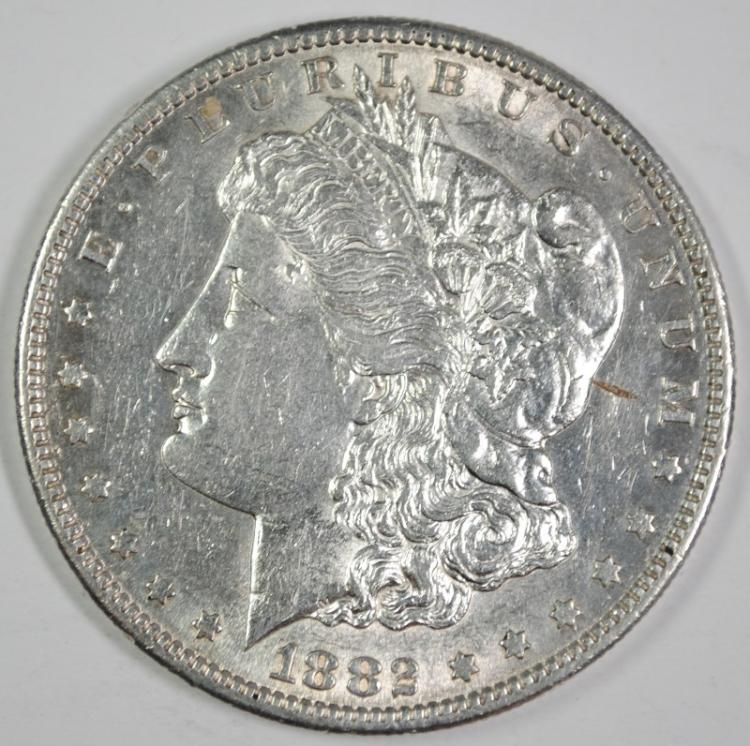 1882-S MORGAN SILVER DOLLAR, BU