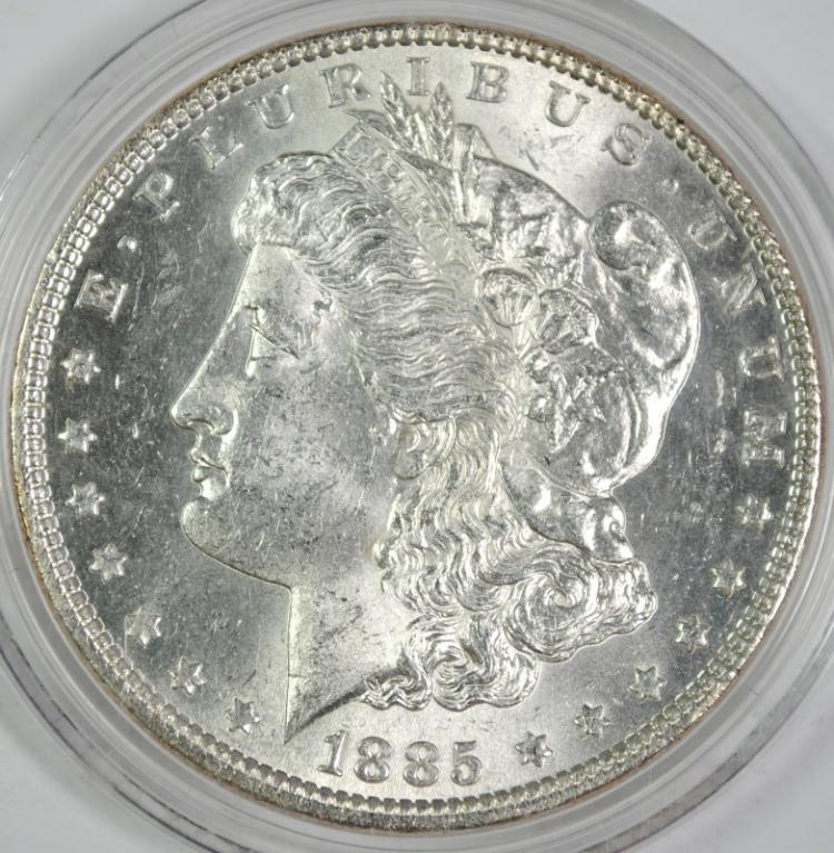 1885 ,MORGAN SILVER DOLLAR, CHOICE BU+