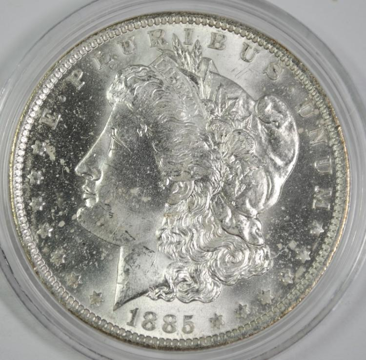 1885-O MORGAN SILVER DOLLAR, CHOICE BU+
