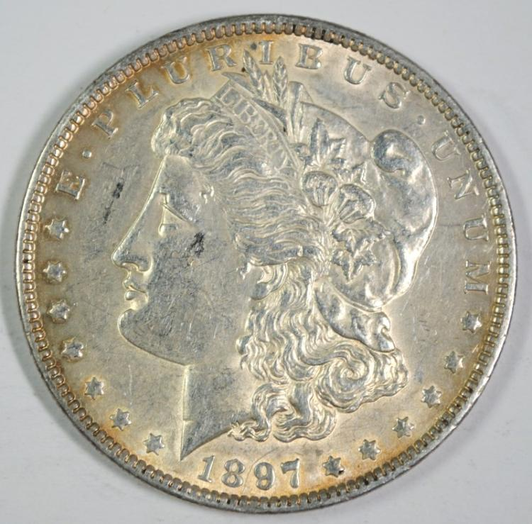 1897 MORGAN SILVER DOLLAR, CHOICE BU