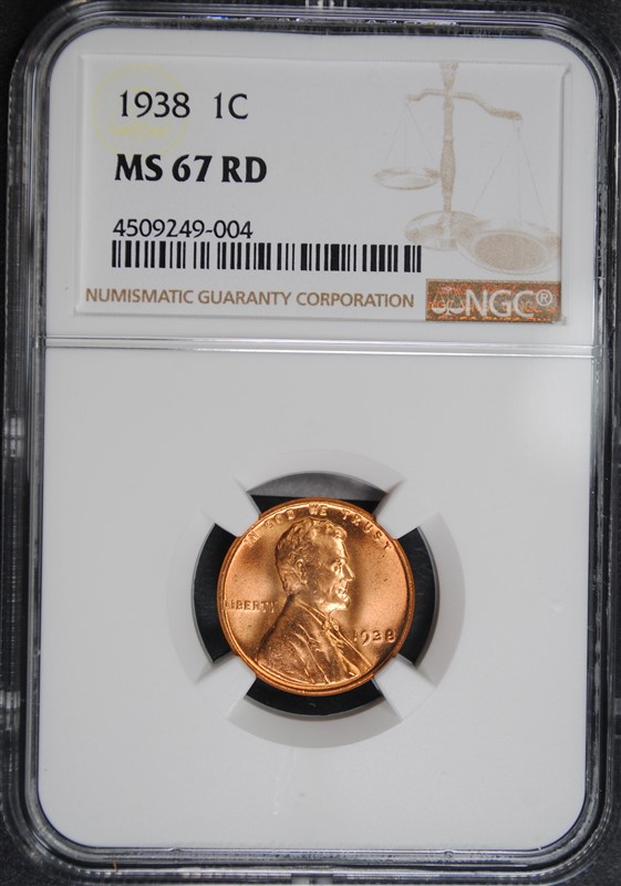1938 LINCOLN CENT, NGC MS-67 RED
