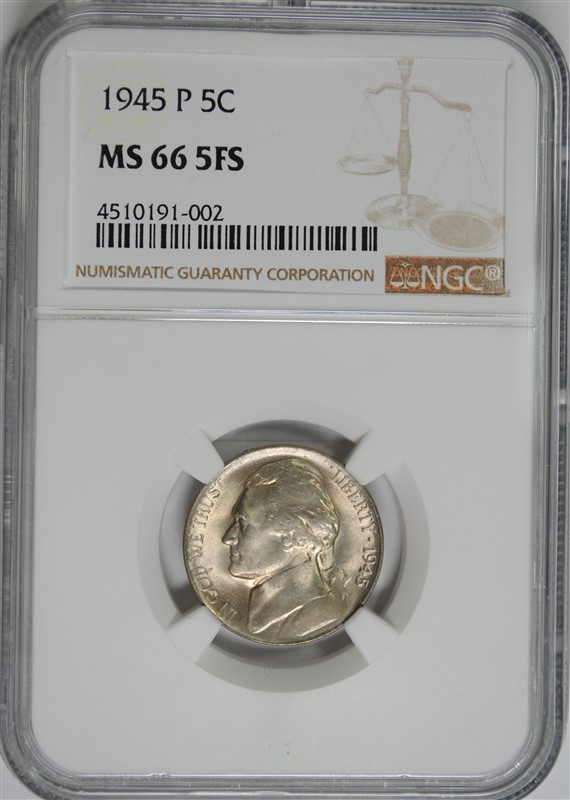 1945-P JEFFERSON NICKEL, NGC MS-66 5 FULL STEPS  RARE NGC PRICE GUIDE=$390.00