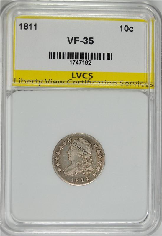 1811 BUST DIME, LVCS VF