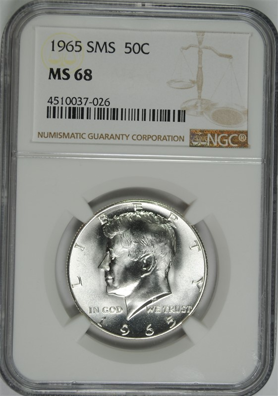1965 SMS KENNEDY HALF DOLLAR, NGC  MS-68