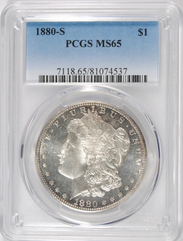 1880-S MORGAN SILVER DOLLAR PCGS MS65