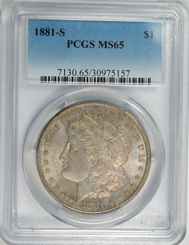 1881-S MORGAN SILVER DOLLAR, PCGS MS-65