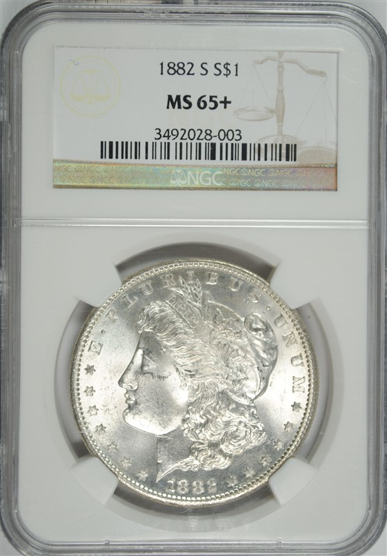 1882-S MORGAN SILVER DOLLAR, NGC MS-65+  BLAST WHITE!