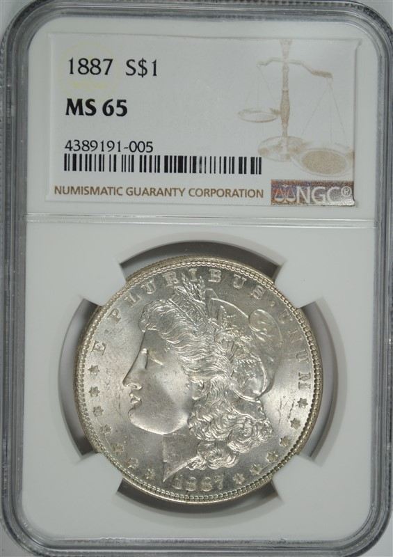 1887 MORGAN SILVER DOLLAR, NGC MS-65