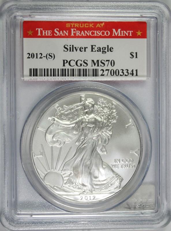 2012-(S) AMERICAN SILVER EAGLE, PCGS MS-70