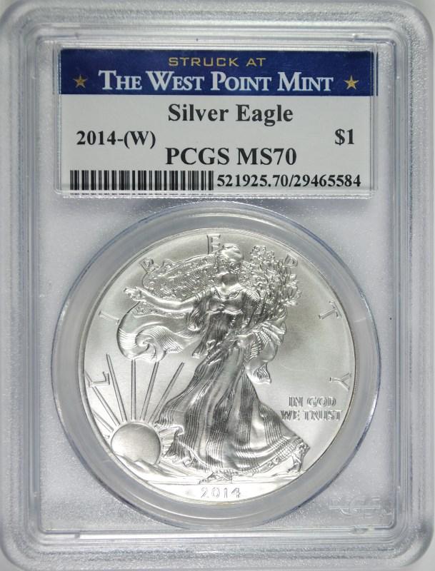2014-(W) AMERICAN SILVER EAGLE, PCGS MS-70