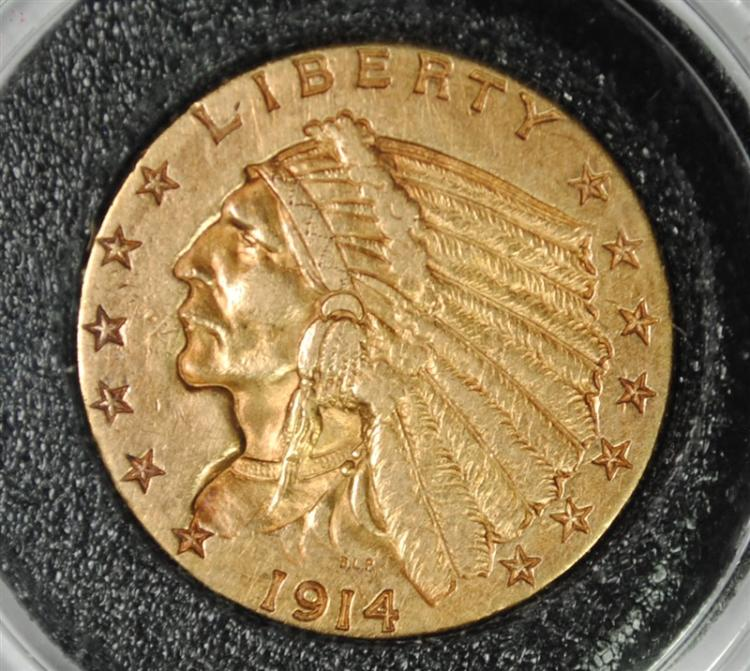 1914 $2.50 GOLD INDIAN, CHOICE BU