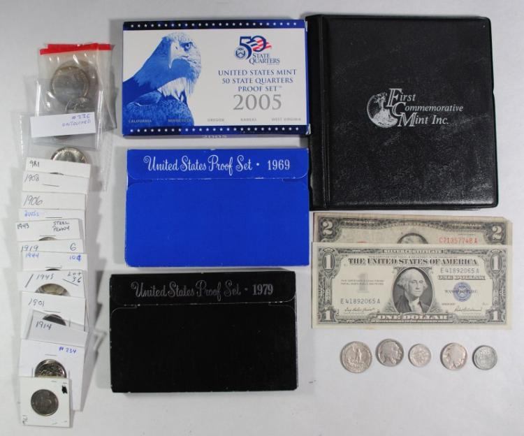 U.S. LOT; 1914 BARBER DIME, 1957 SILVER CERTIFICATE, $2 RED SEAL, 1979 SBA SET,