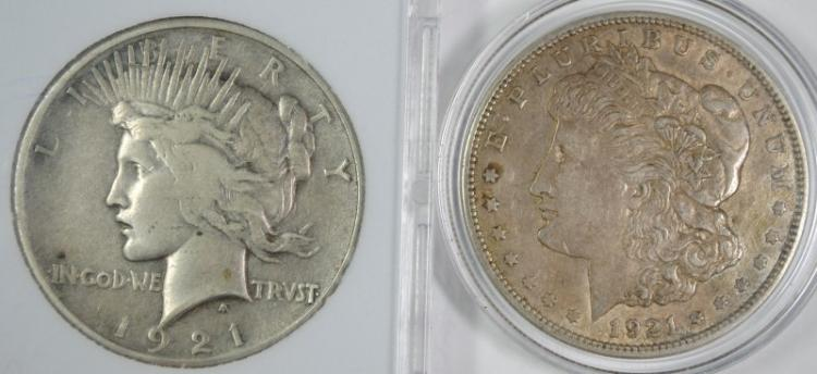 1921 MORGAN DOLLAR & 1921 PEACE DOLLAR - BOTH CIRC
