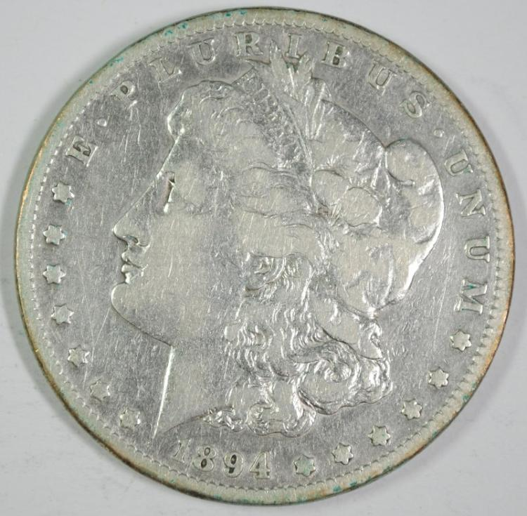 1894-S MORGAN SILVER DOLLAR - FINE/VF - SEMI KEY DATE