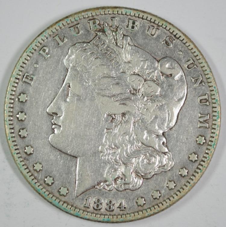 1884-S MORGAN SILVER DOLLAR - XF - SEMI KEY DATE