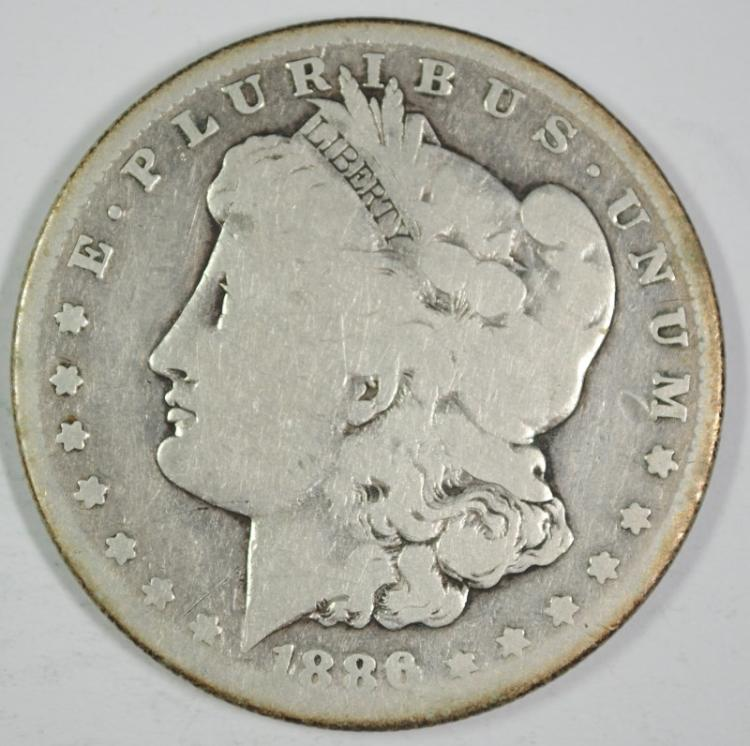 1886-S MORGAN SILVER DOLLAR - GOOD - SEMI KEY DATE