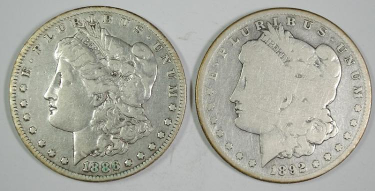 1886-O MORGAN VF & 1892-S MORGAN G , SEMI KEYS