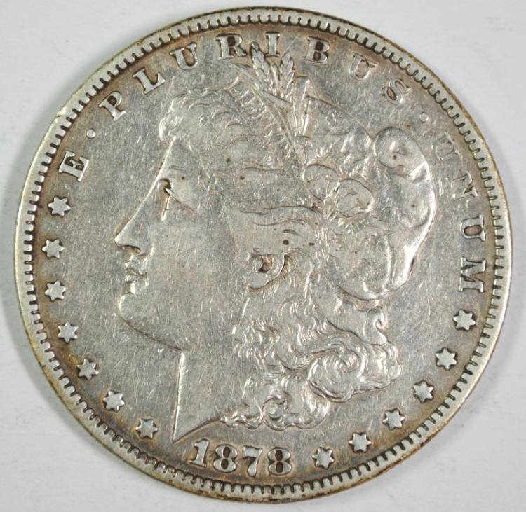 1878 7/8F MORGAN SILVER DOLLAR VF/XF