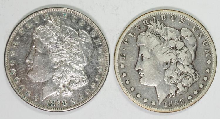 1878-S MORGAN AU & 1885-S MORGAN F/VF