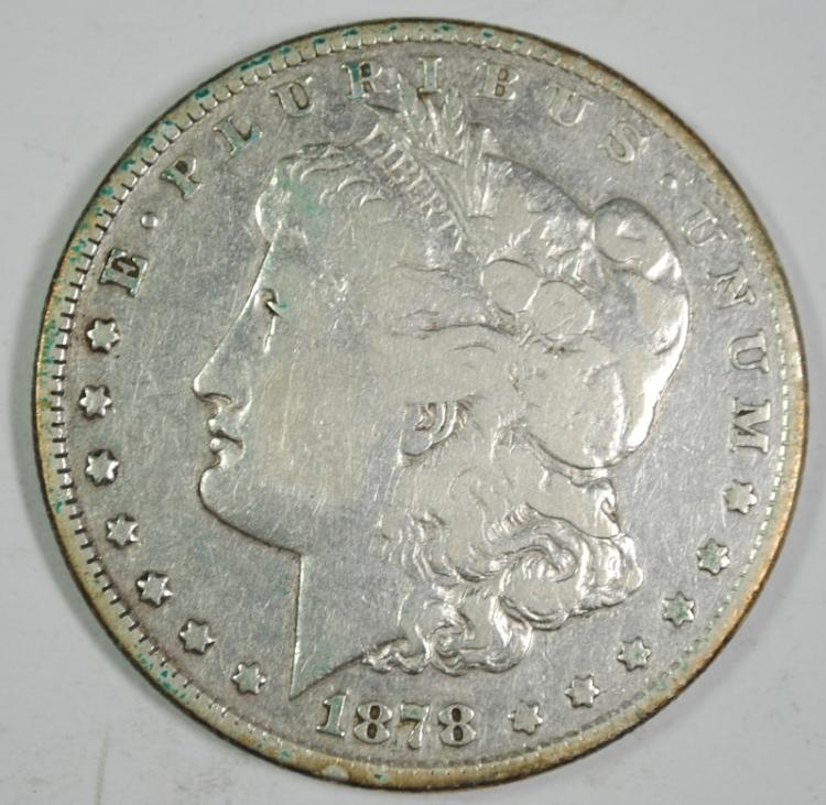 1878 8F MORGAN SILVER DOLLAR, VF