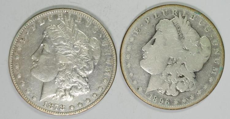 1898-S MORGAN G/VG & 1878 7F MORGAN XF