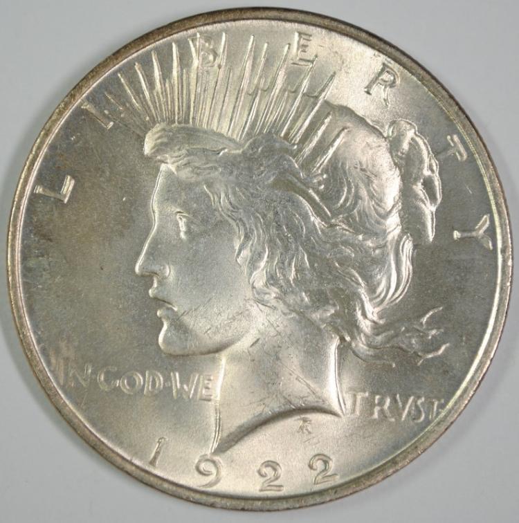 1922 PEACE SILVER DOLLAR CHOICE BU++