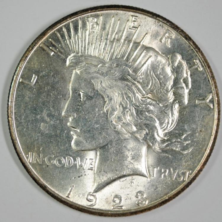 1923-S PEACE SILVER DOLLAR - CHOICE BU++