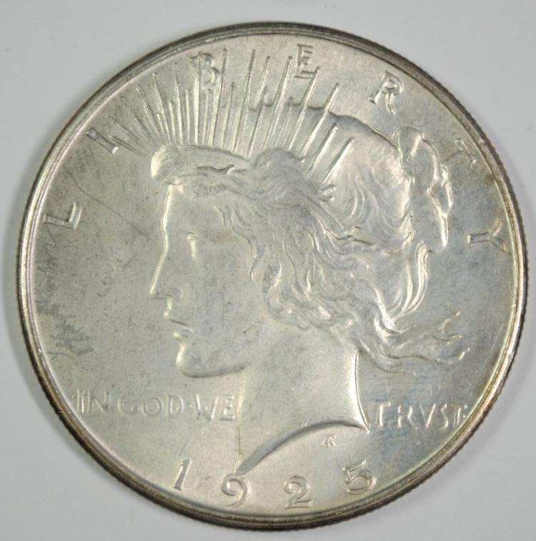 1925 PEACE SILVER DOLLAR - CHOICE BU++