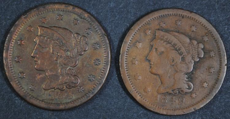 2 - LARGE CENTS; 1854 VF+ , 1849 VG