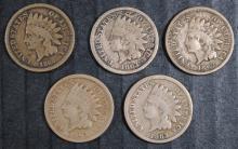 5 - CN INDIAN HEAD CENTS - CIVIL WAR, 3- 1863 VG, 1862 VG, 1860 VG