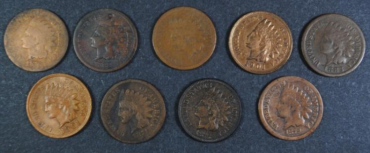 INDIAN CENT LOT; 1874 G/VG, 1868 G, 1865 AG/G, 1879 G, 1883 AG, 1876 AG, 1875 XF