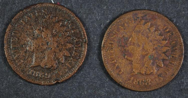 1868 INDIAN CENT VG & 1869 INDIAN CENT VG DARK