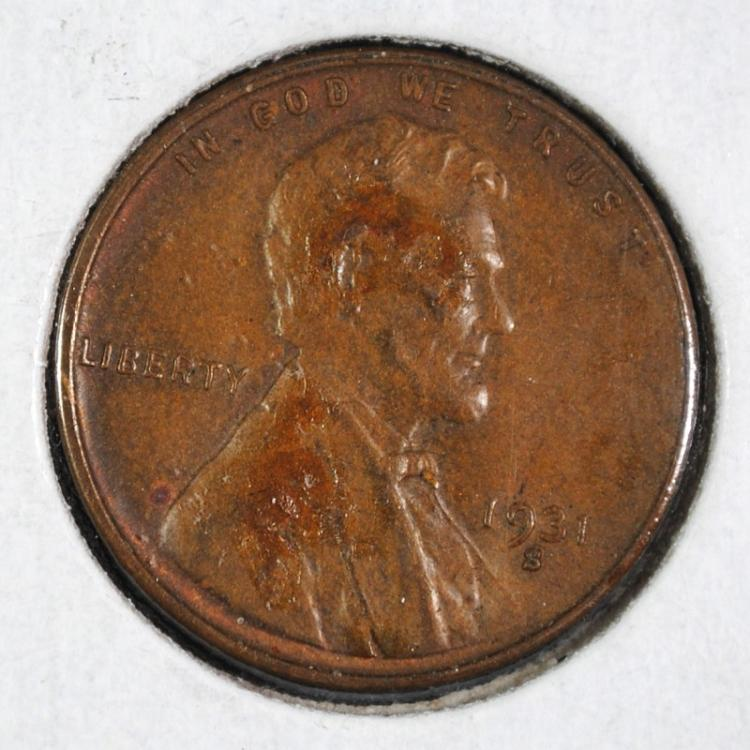 1931-S LINCOLN CENT XF KEY COIN