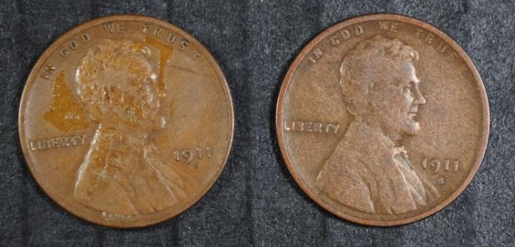 2 - 1911 S LINCOLN CENTS, 1-VG, 1-FINE
