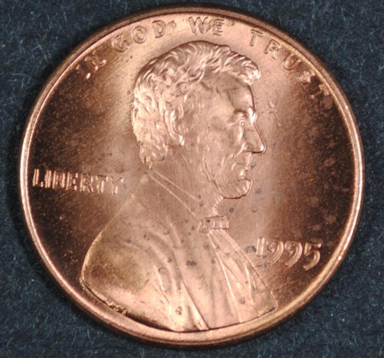1995 LINCOLN CENT - GEM RED BU - DOUBLE DIE