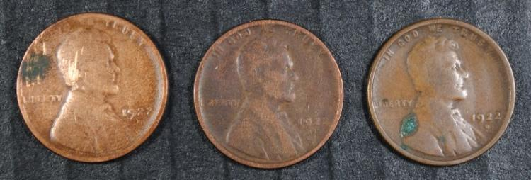 3 - 1922 D LINCOLN CENTS - NICE VG, SEMI KEYS