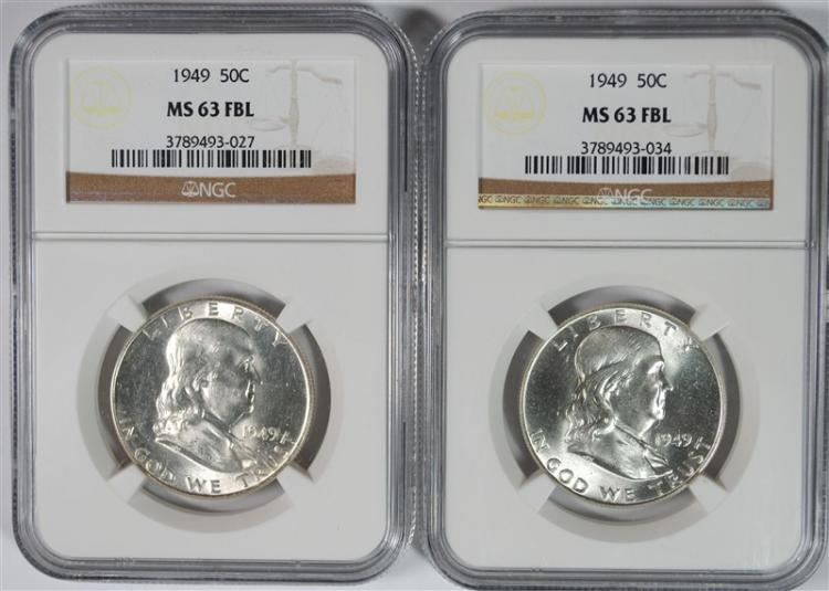 2 1949 FRANKLIN HALF DOLLARS NGC MS 63 FBL